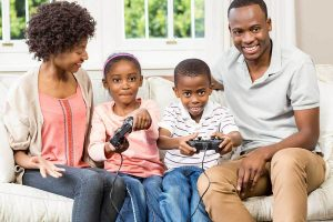 children gaming with parents